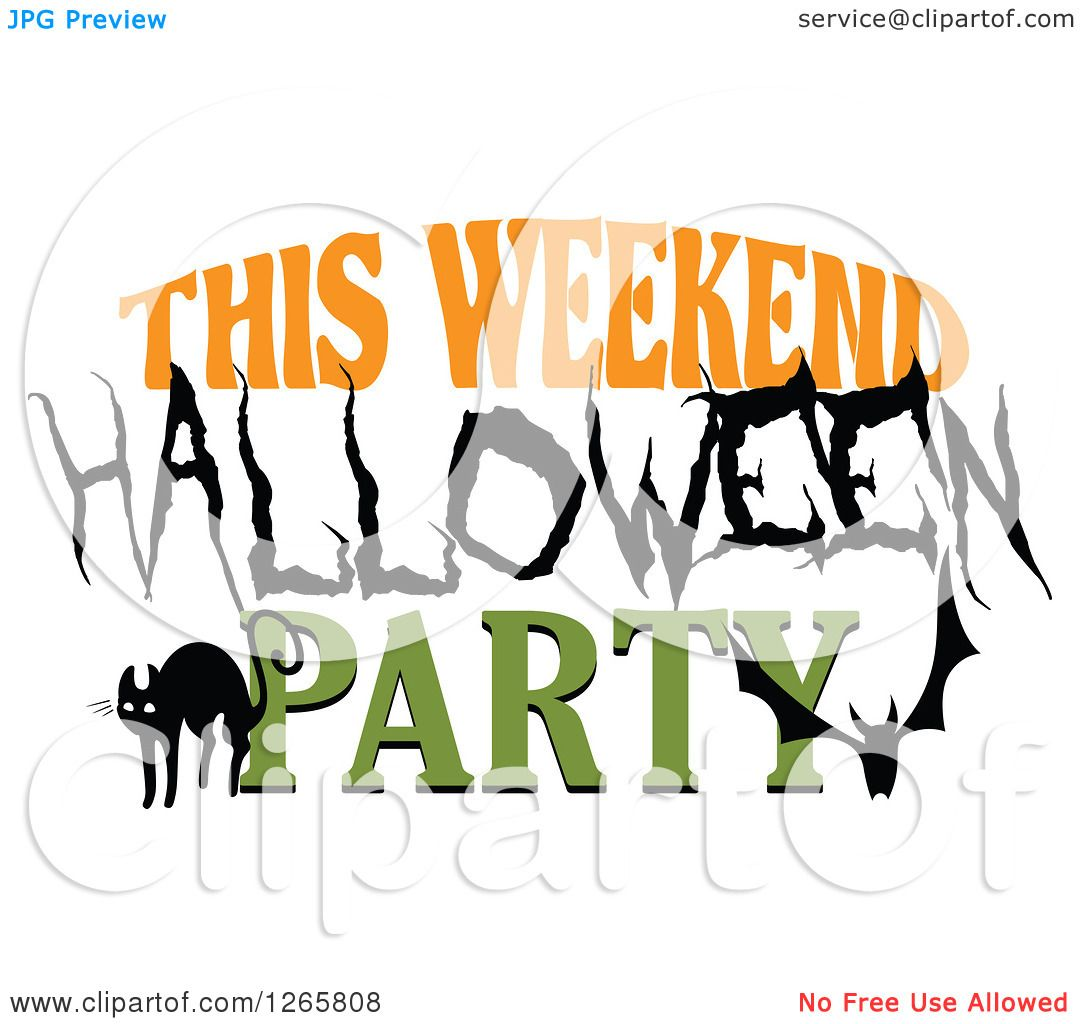 Clipart of a Black Cat Bat and This Weekend Halloween Party Text ...