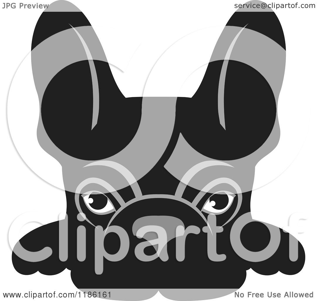 Clipart Of A Black Frenchie Dog Looking Over A Surface