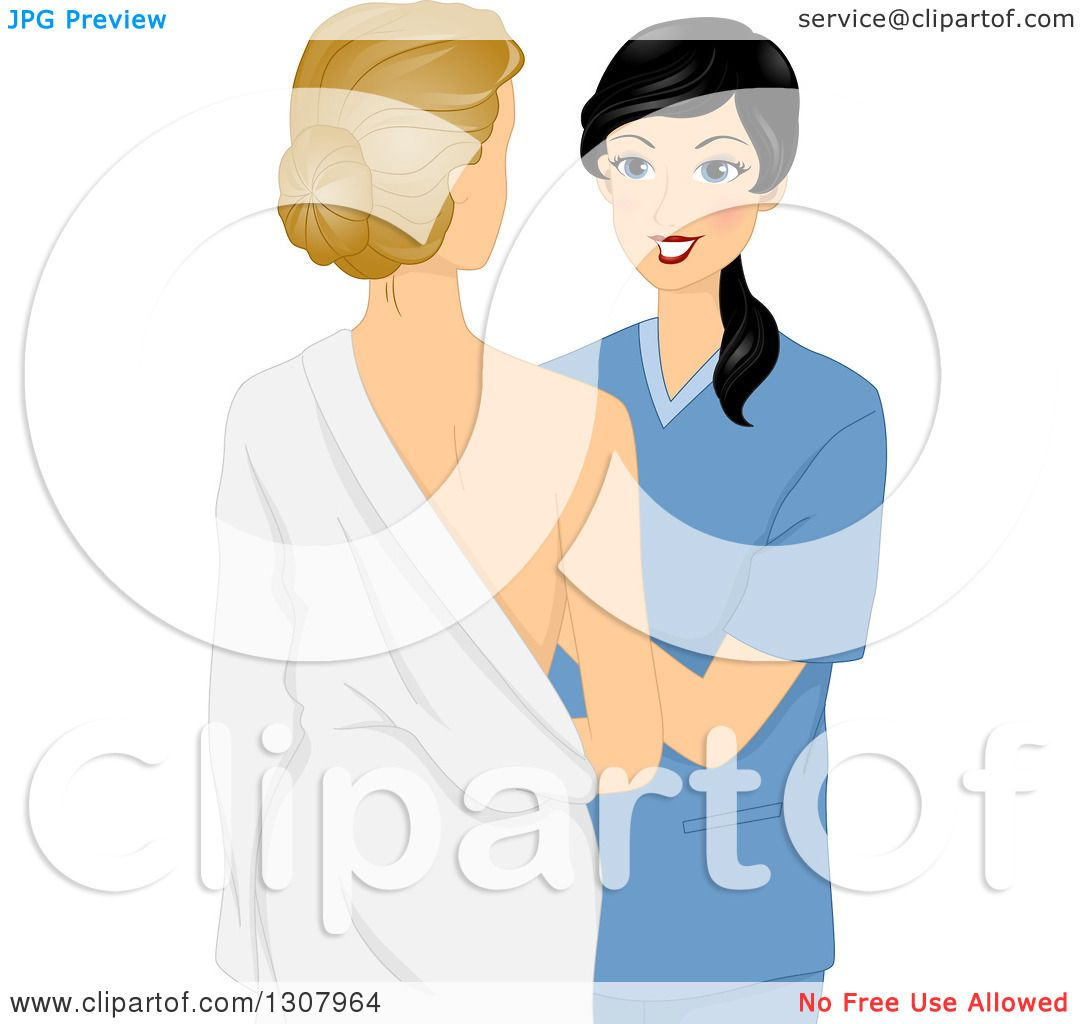 Clipart of a Black Haired Female Doctor Examining a Patient's ...