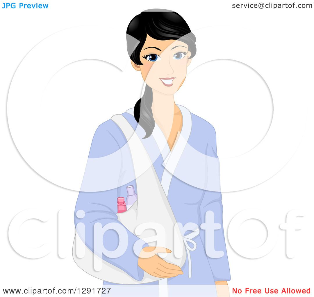 Clipart of a Black Haired Irish Woman in a Bath Robe 389cfb29f