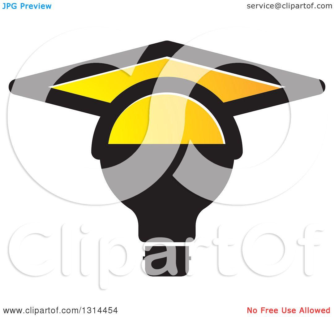 Clipart of a Black Light Bulb with a Yellow Graduation Cap ... for Black Light Bulb Clip Art  587fsj
