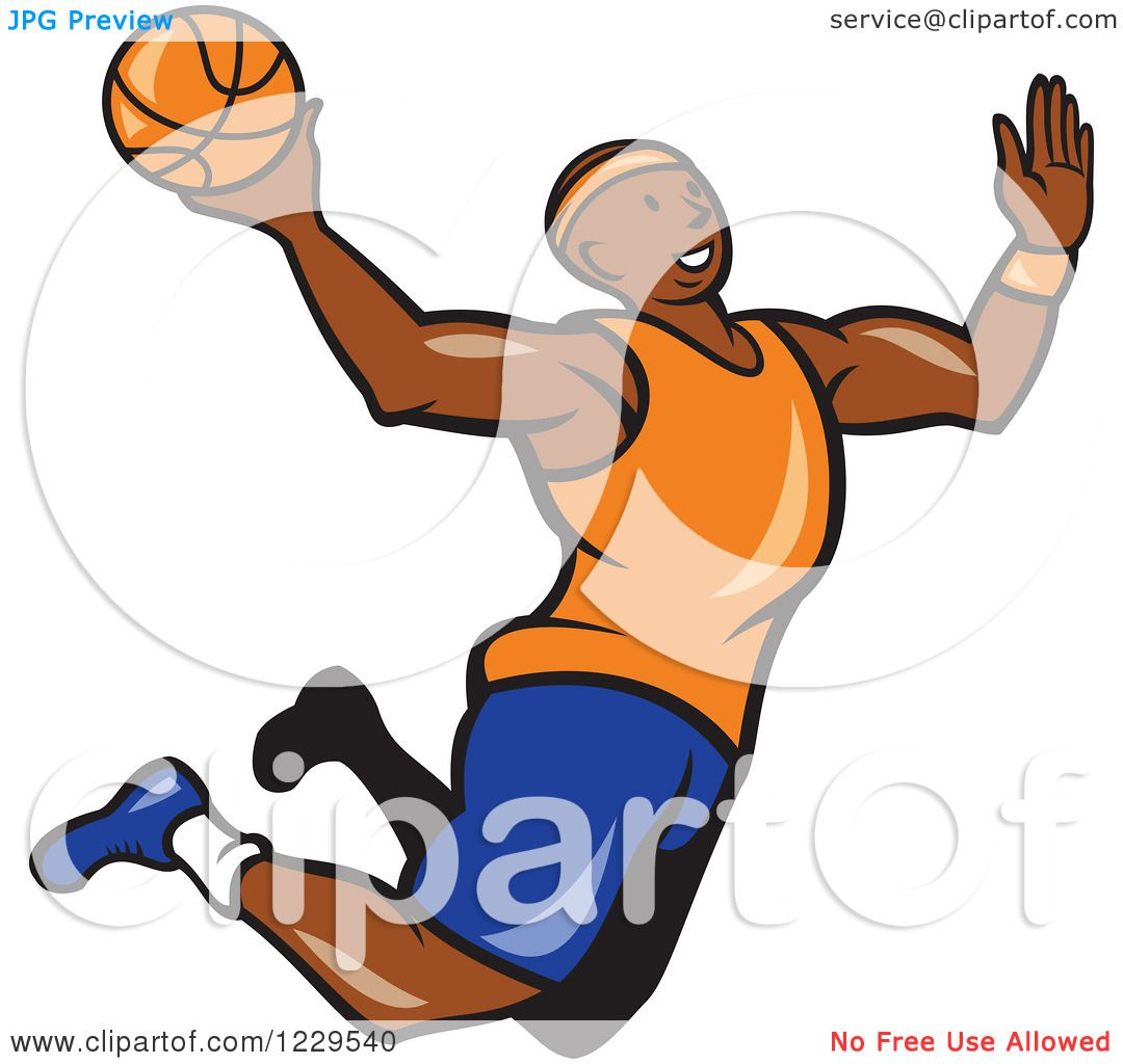 Clipart of a Black Male Basketball Player Jumping for a Slam