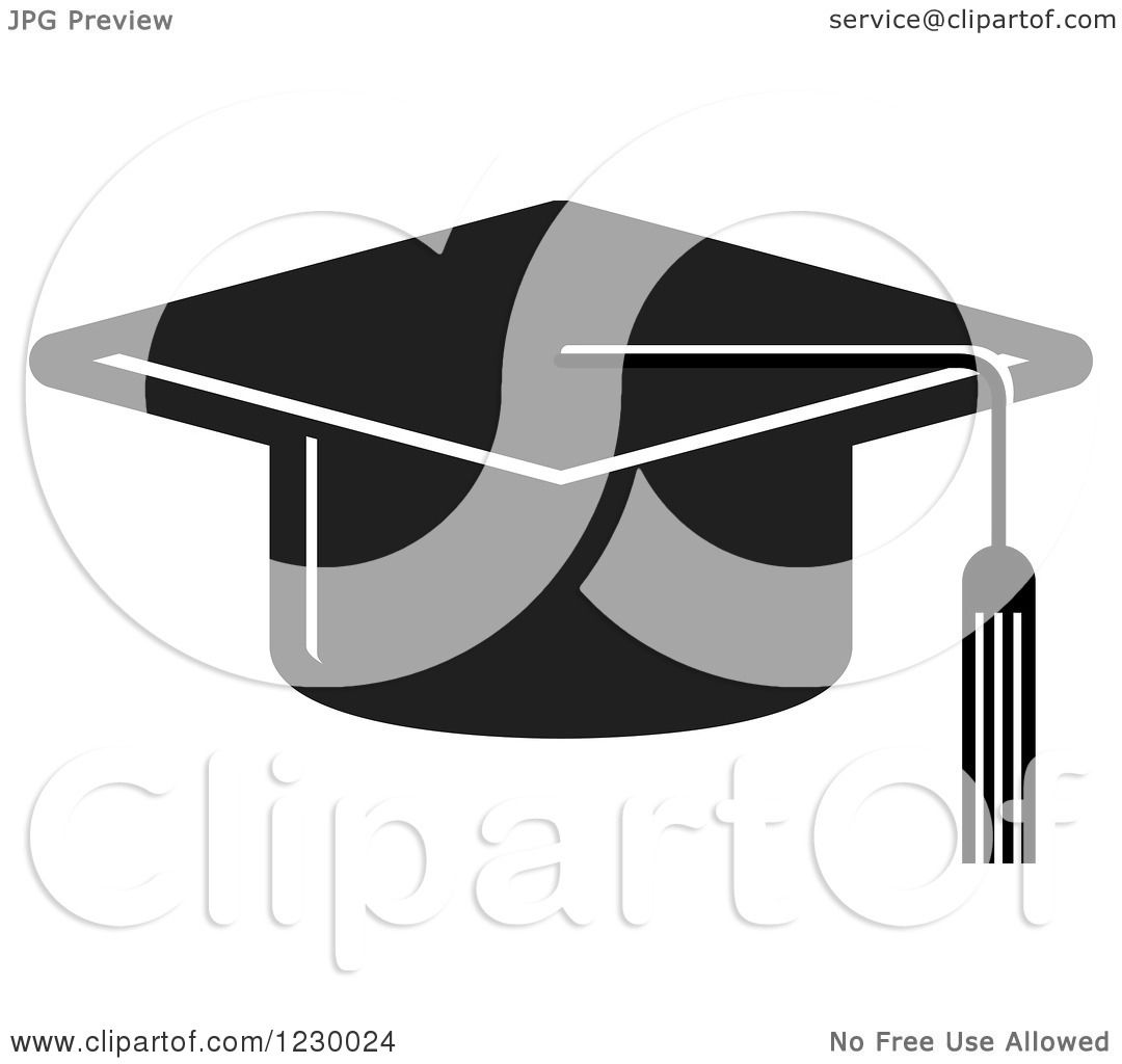 Clipart of a Black Mortar Board Graduation Cap Icon - Royalty Free ...