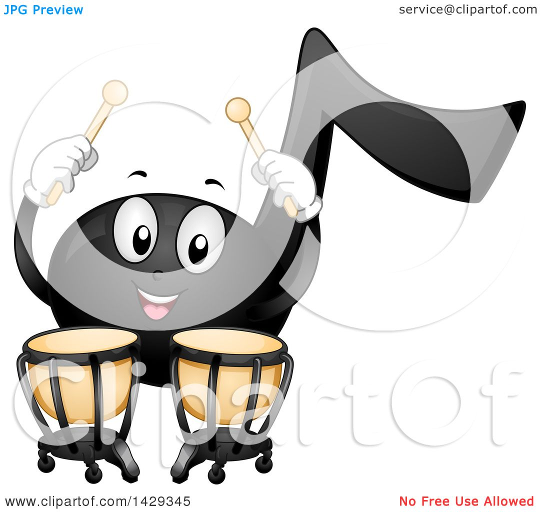 Clipart Of A Black Music Note Mascot Playing Timpani Kettledrums