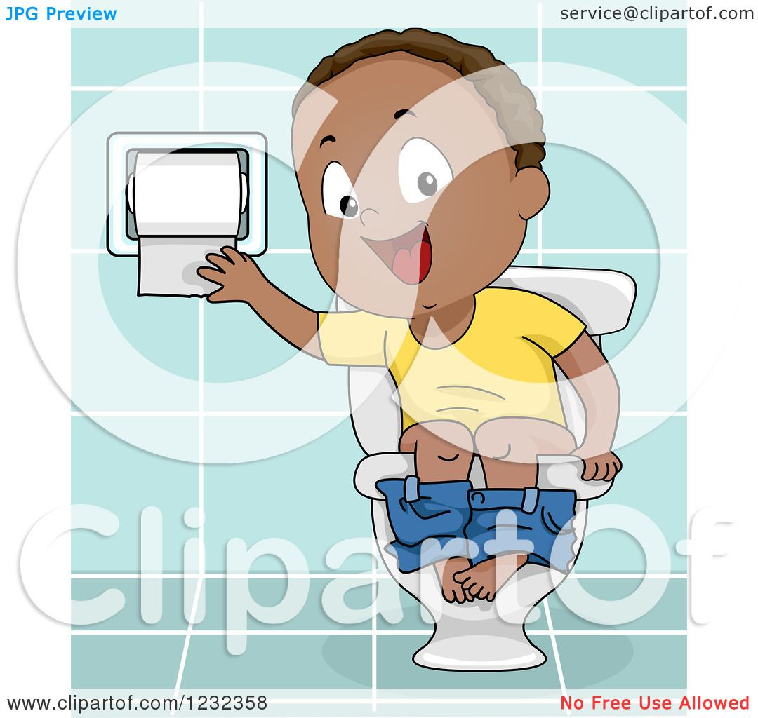 Clipart Of A Black Potty Training Toddler Boy Using Toilet