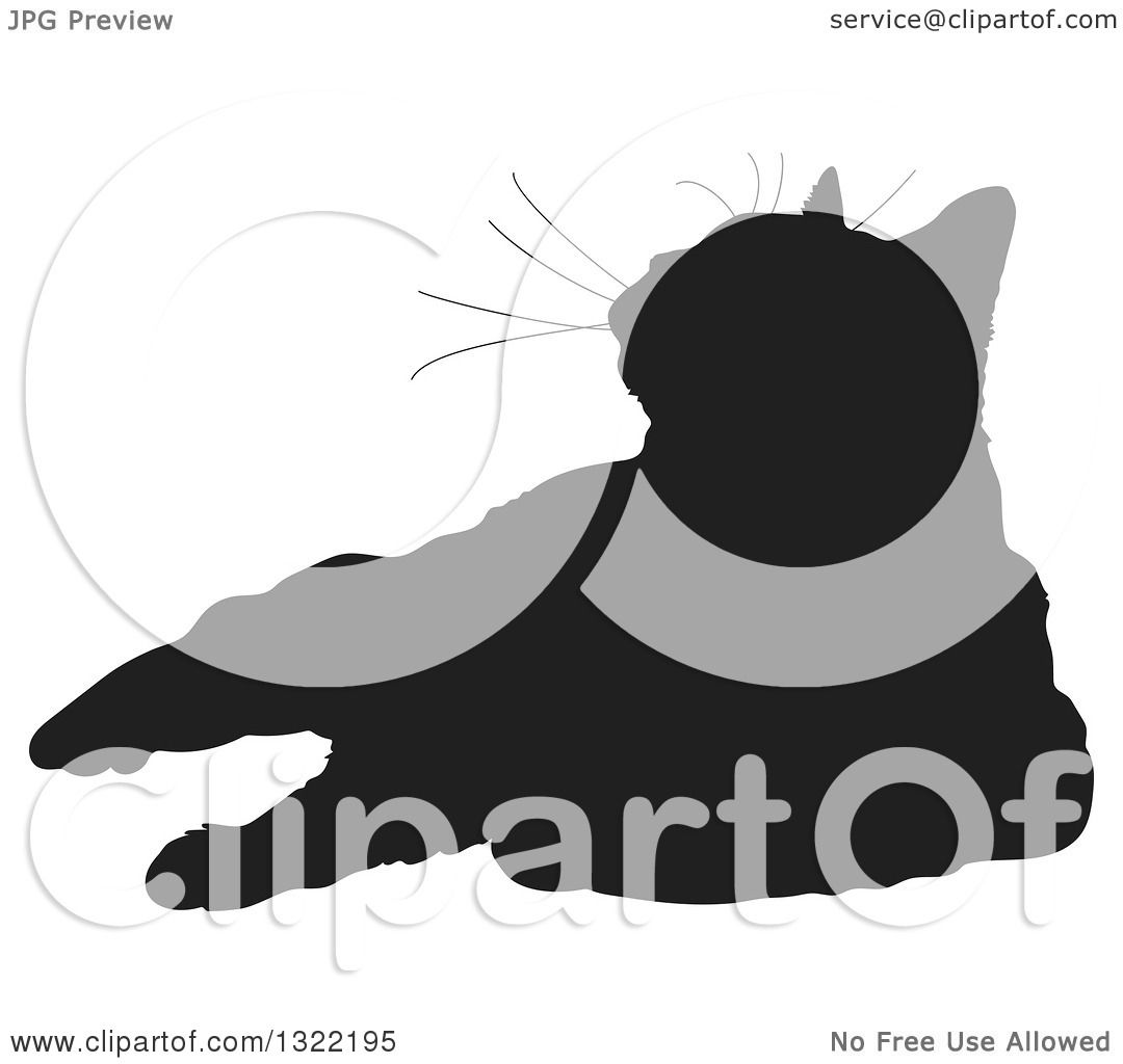 Clipart Of A Black Resting Cat Silhouette Looking Up