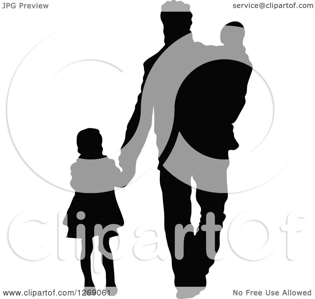 ... Father and Baby Brother - Royalty Free Vector Illustration by Pushkin: www.clipartof.com/portfolio/pushkin/illustration/black-silhouette...