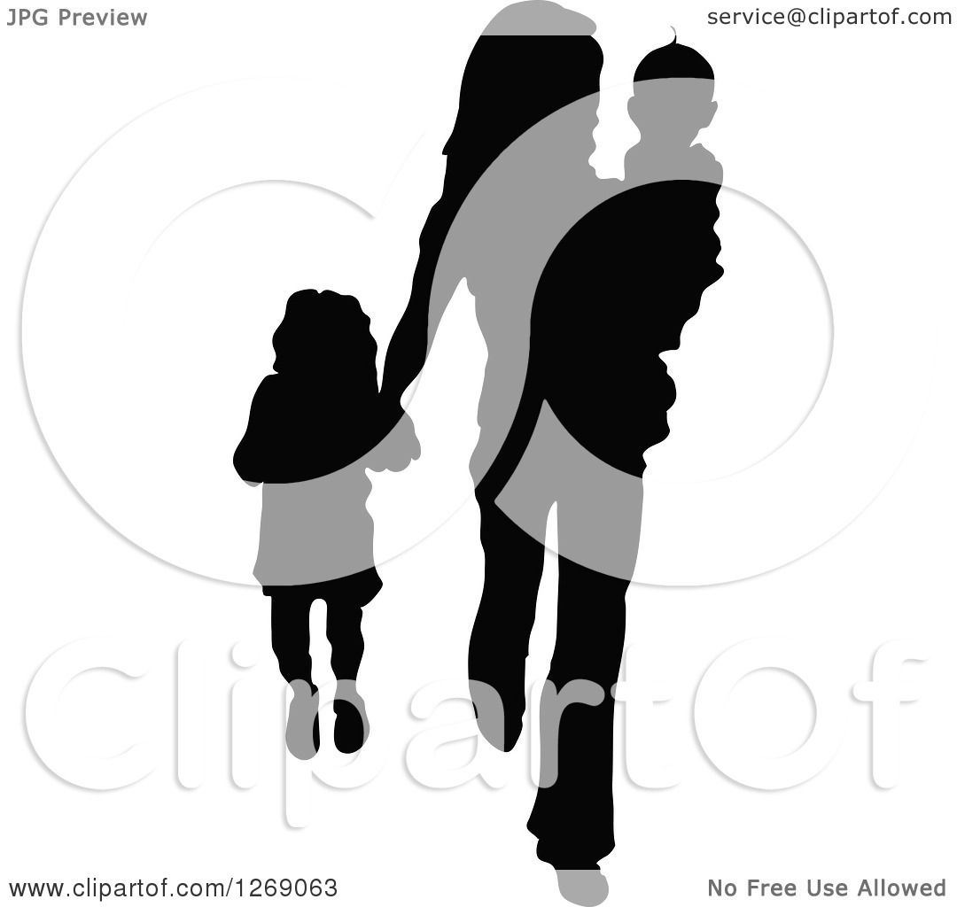 Clipart of a Black Silhouette of a Mother Carrying Her Son ...
