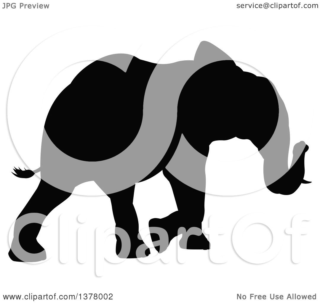Clipart of a Black Silhouetted Elephant Walking - Royalty ...