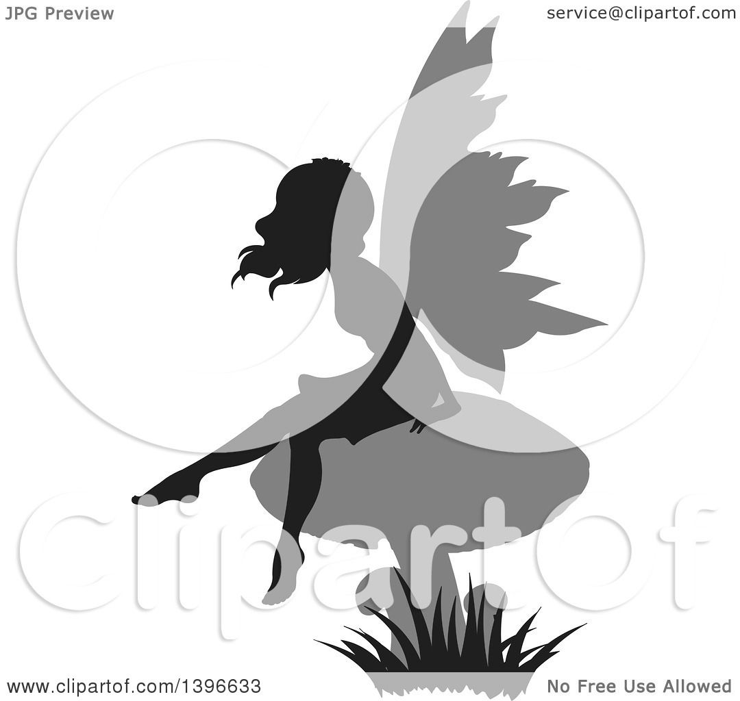 clipart of a black silhouetted female fairy with gray