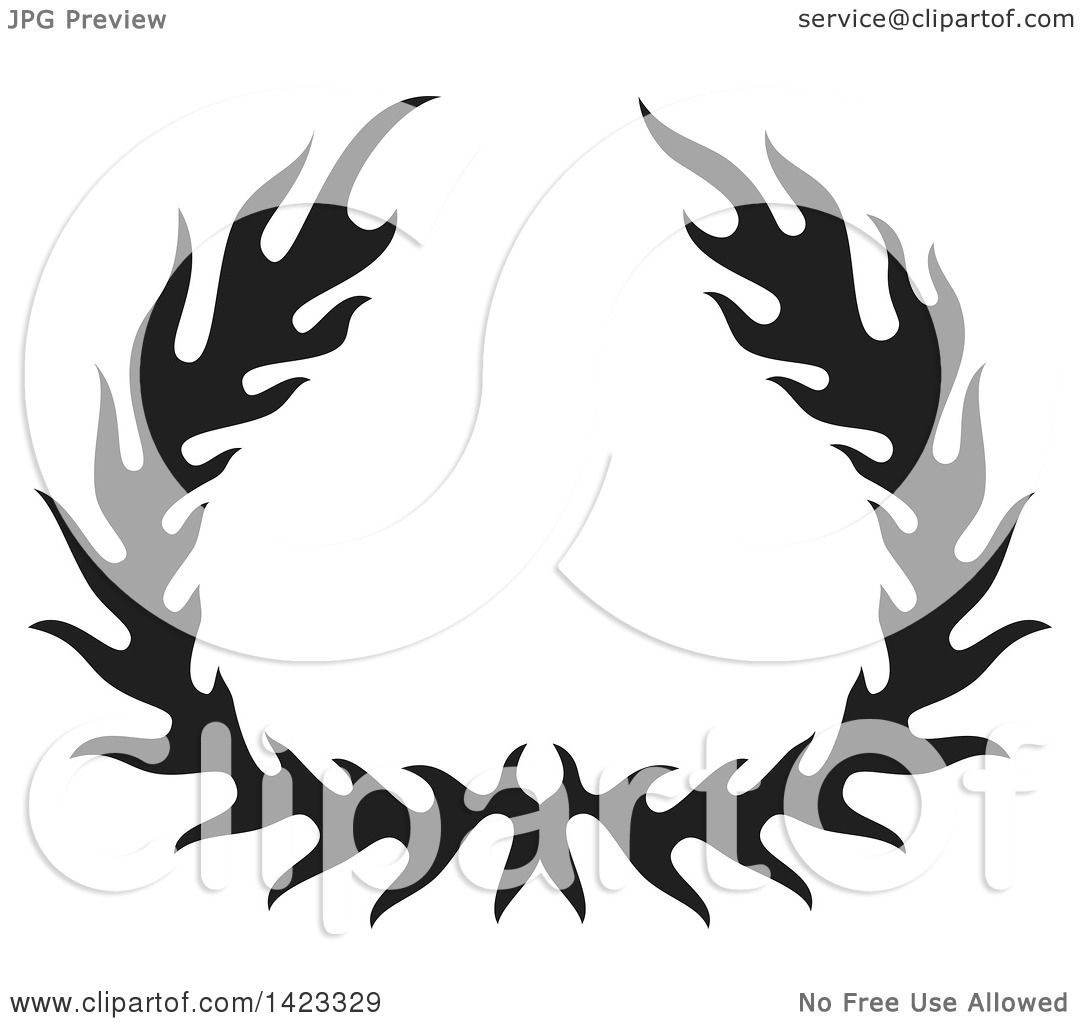 Clipart Of A Black Silhouetted Fire Flame Wreath Design