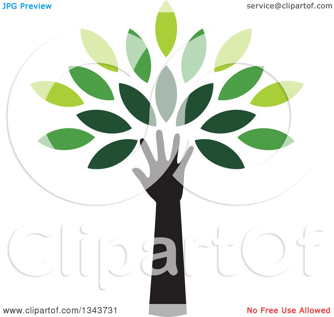 Clipart of a Black Silhouetted Hand and Arm Forming the Trunk of a ...