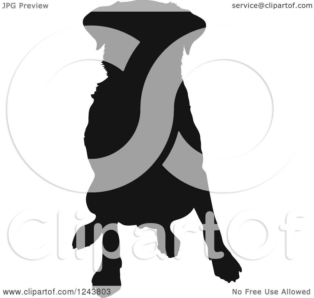 clipart of a black silhouetted labrador retriever dog sitting