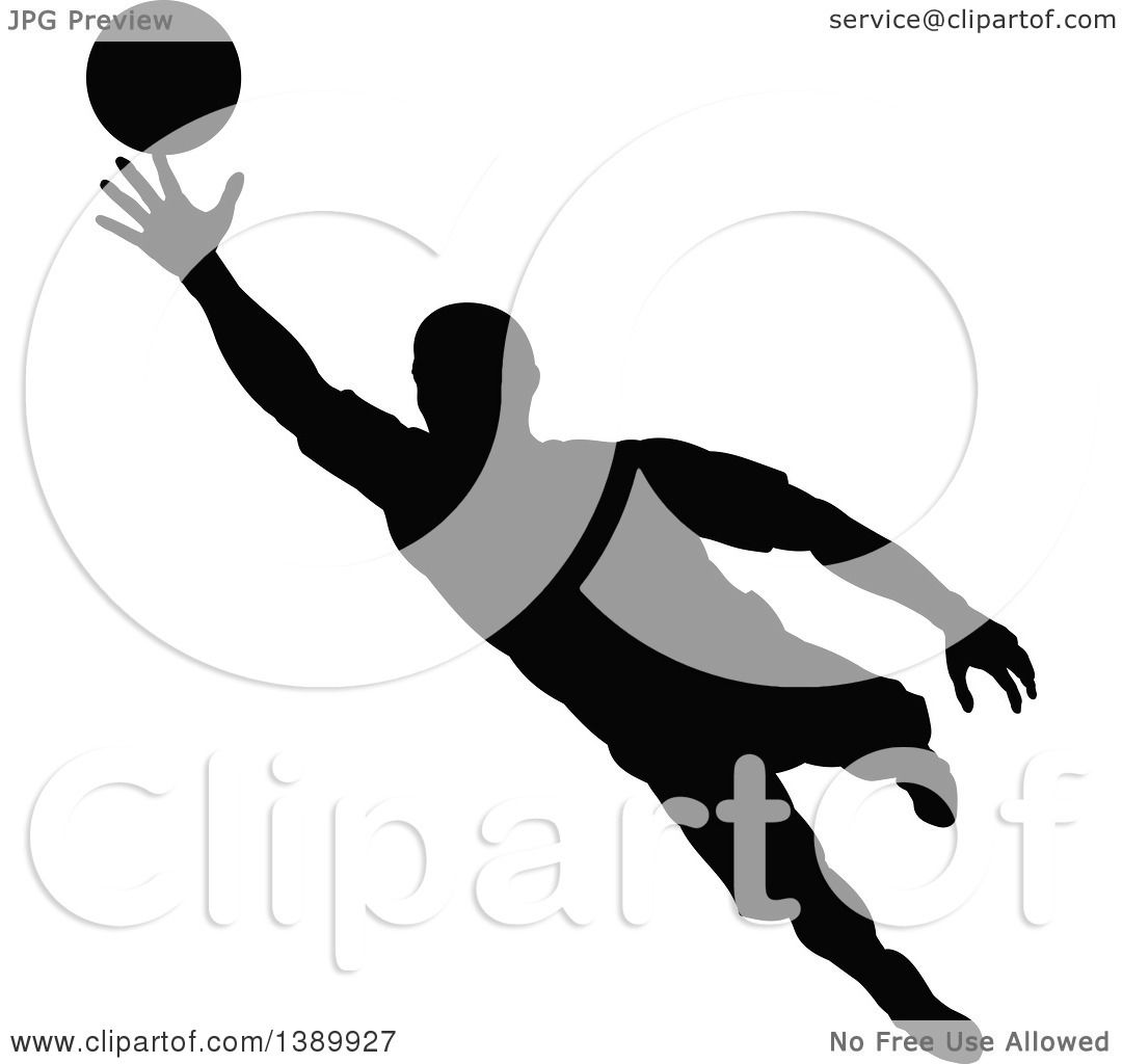 Clipart of a Black Silhouetted Male Soccer Player Goalie in Action - Royalty Free ...
