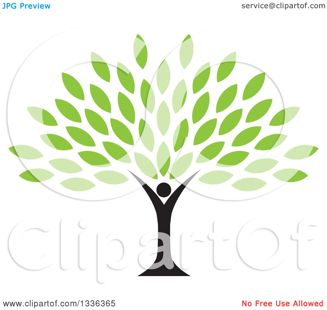 Clipart of a Black Silhouetted Man Forming the Trunk of a Tree with ...