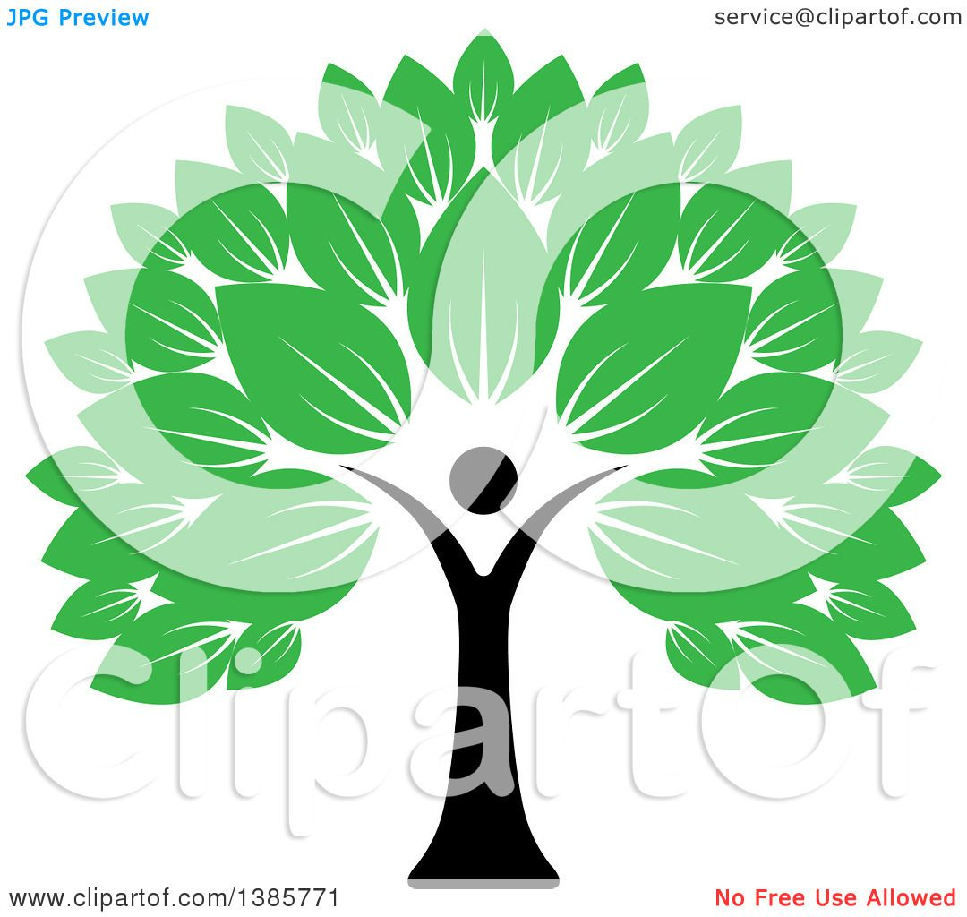 Clipart of a Black Silhouetted Person Forming the Trunk of a Tree ...