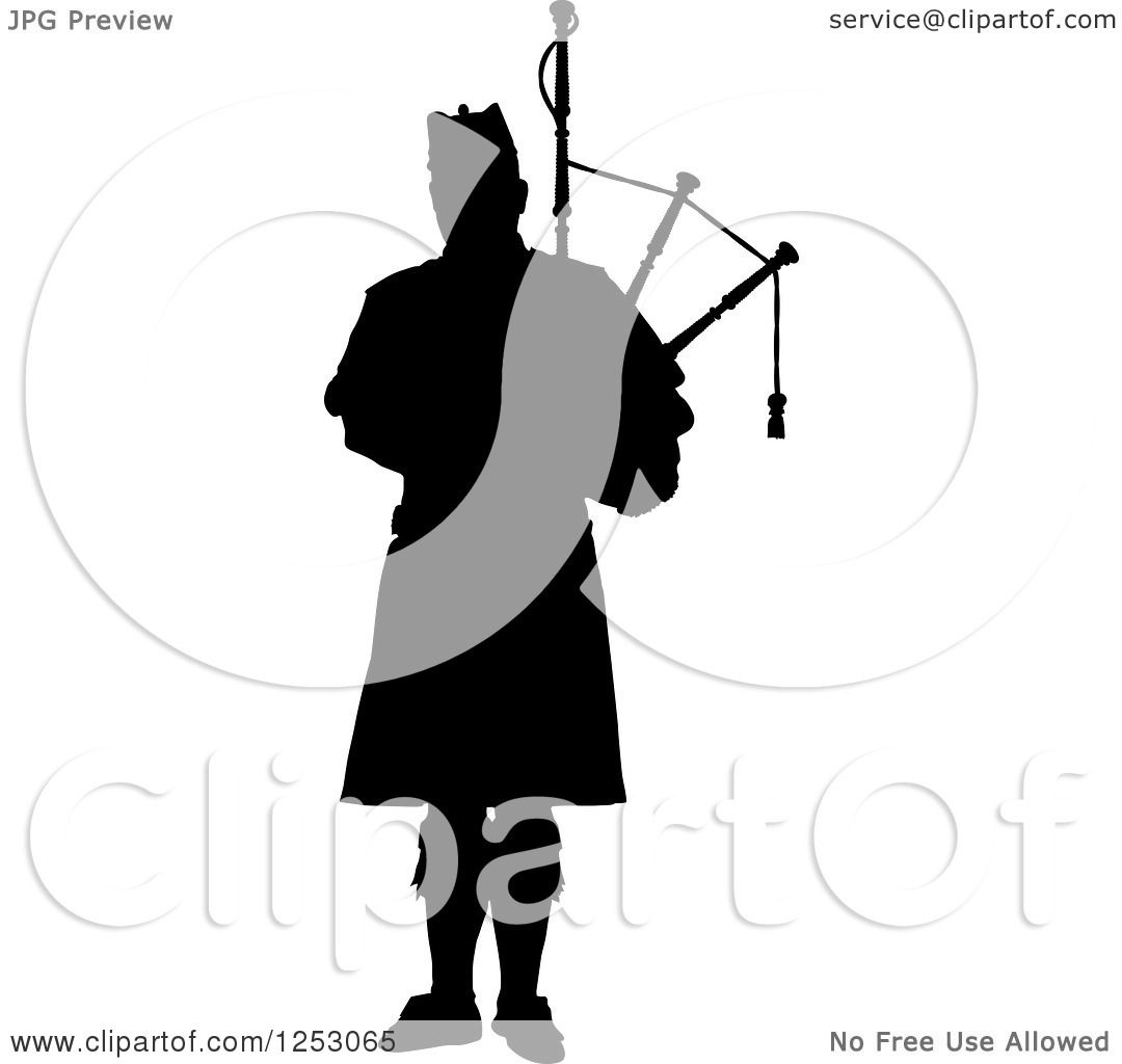 Clipart of a Black Silhouetted Scottish Piper Holding Bagpipes ...