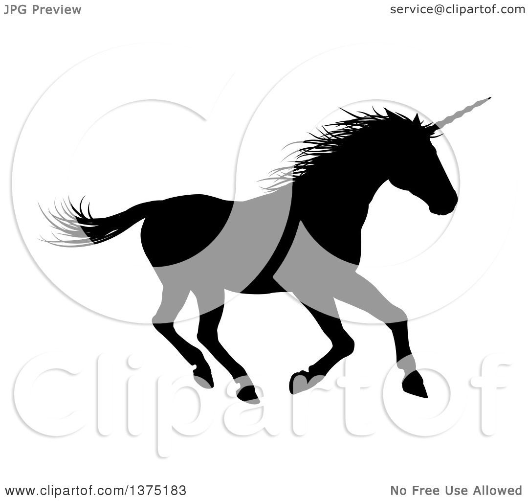 Clipart of a Black Silhouetted Unicorn Horse Running to the Right ...