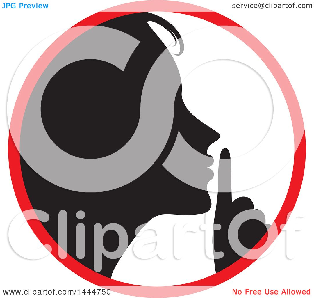 Clipart of a Black Silhouetted Woman Shushing Inside a ...