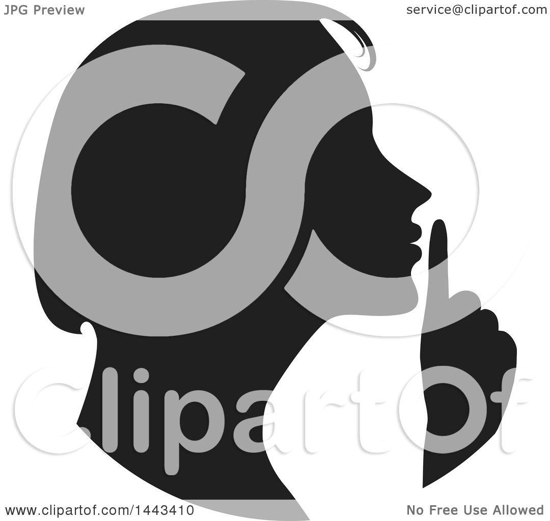 Clipart of a Black Silhouetted Woman Shushing - Royalty ...
