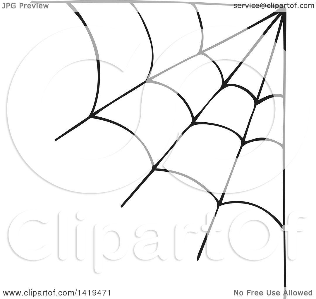 Clipart of a Black Spider Web Corner Design Element