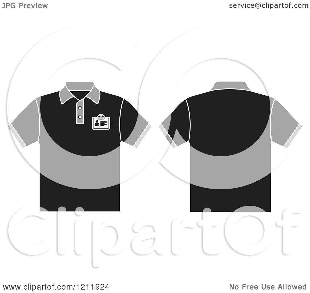 Black t shirt clipart - Clipart Of A Black T Shirt With An Id Badge Shown Front And Back Royalty Free Vector Illustration By Lal Perera