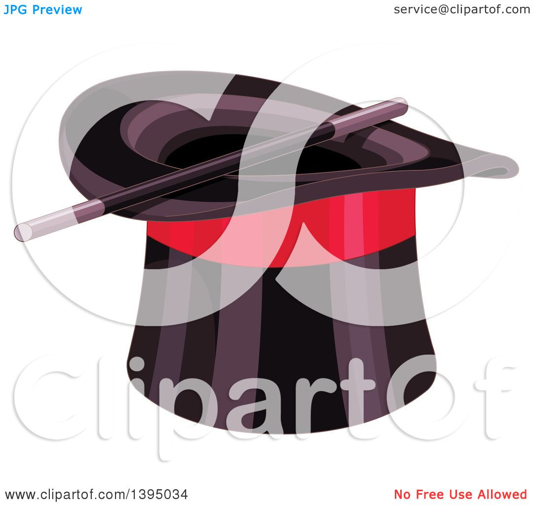 c9d22fb9389 Clipart of a Black Top Hat with a Red Band and Magic Wand - Royalty Free