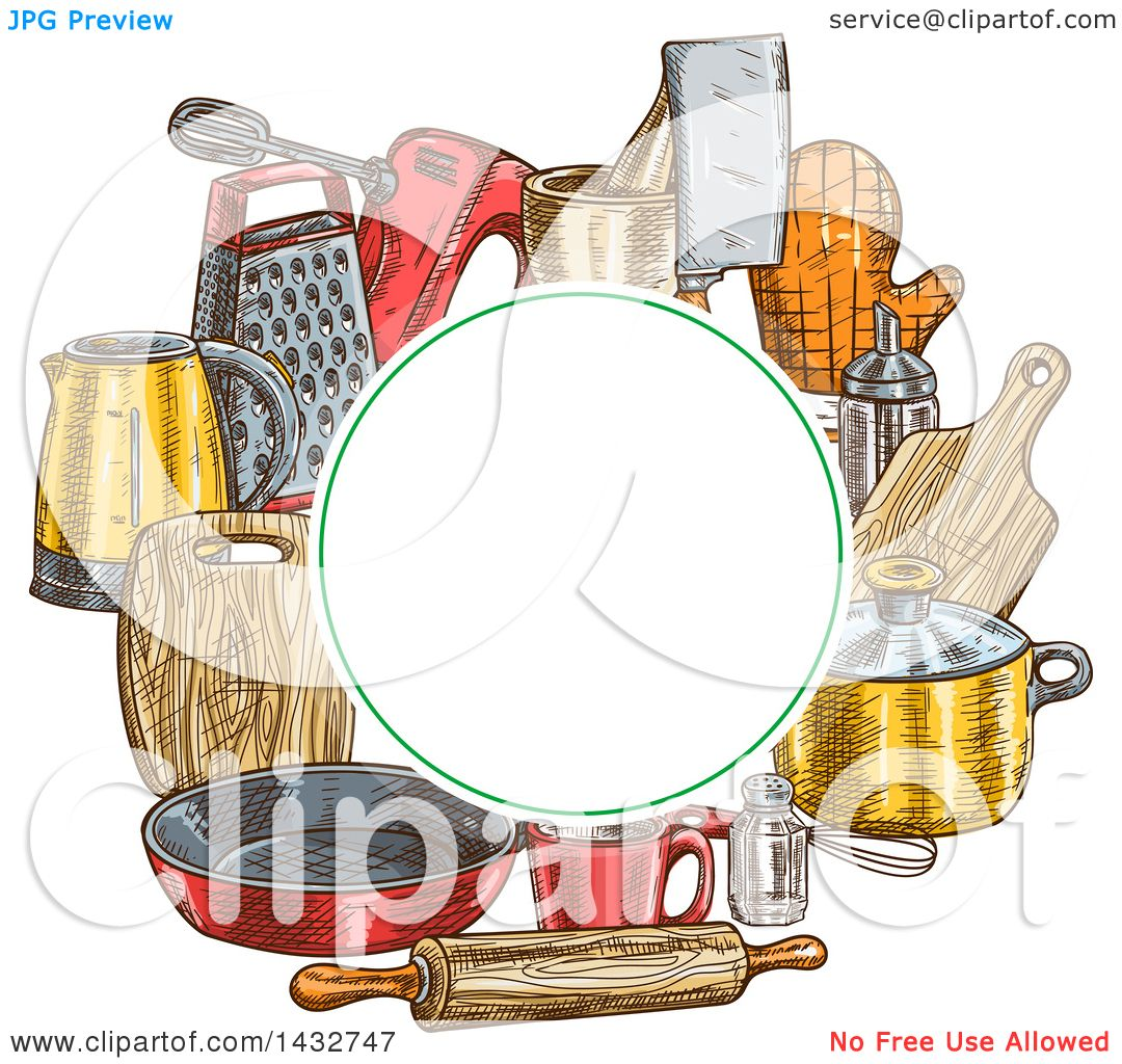 Best Kitchen Illustrations Royalty Free Vector Graphics: Clipart Of A Blank Circle Frame Over Sketched Kitchen