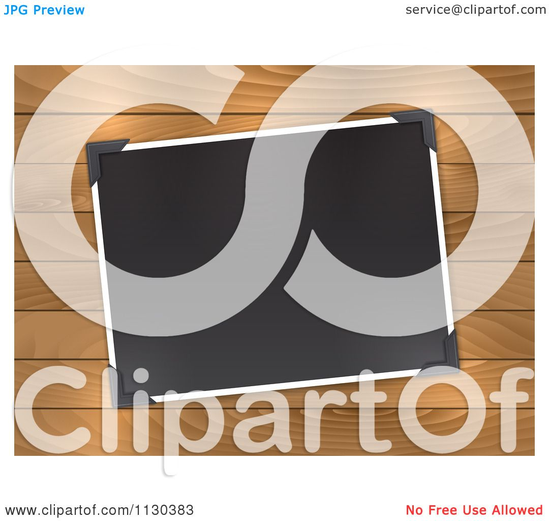 Clipart Of A Blank Photo With Corner Holders On Wood - Royalty Free Vector  Illustration by KJ Pargeter