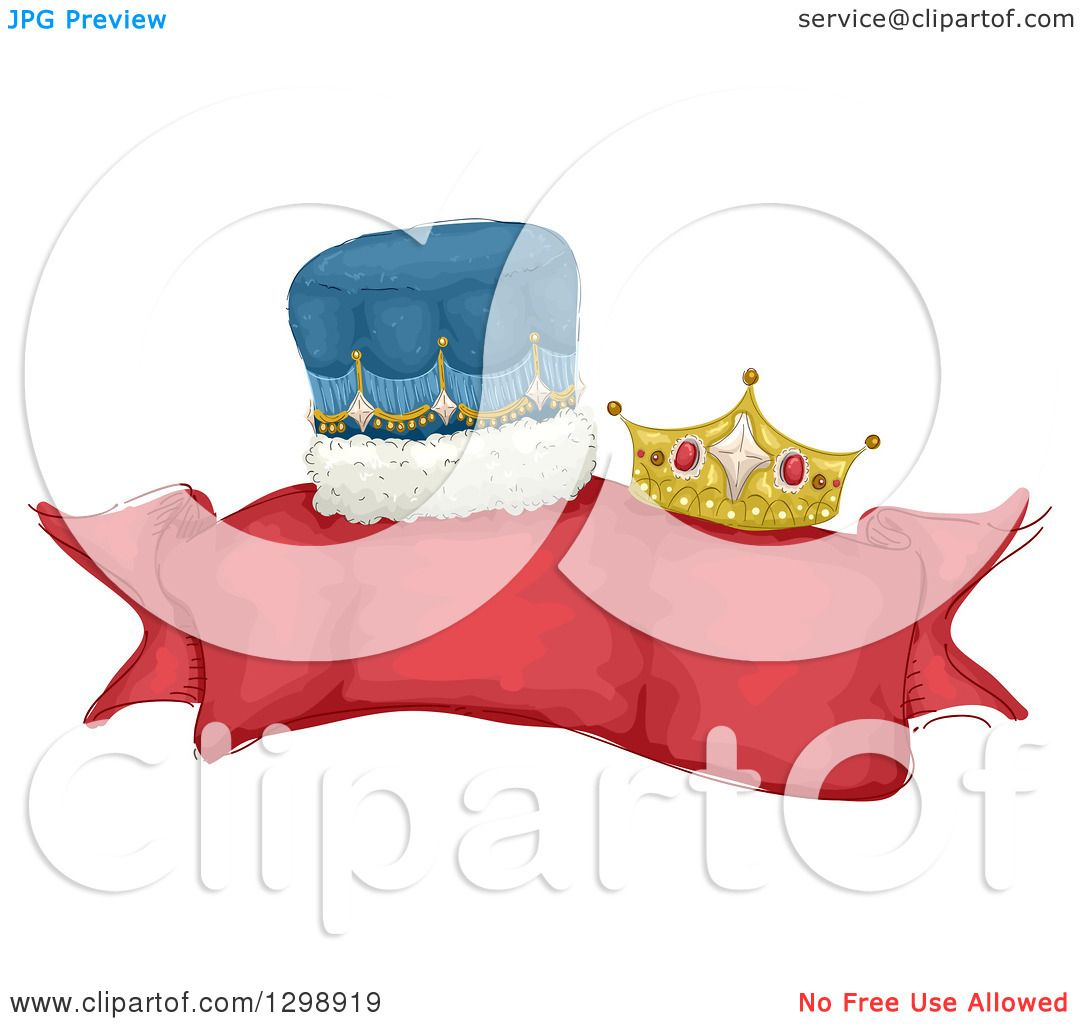 Clipart of a Blank Red Ribbon Banner with King and Queen ...