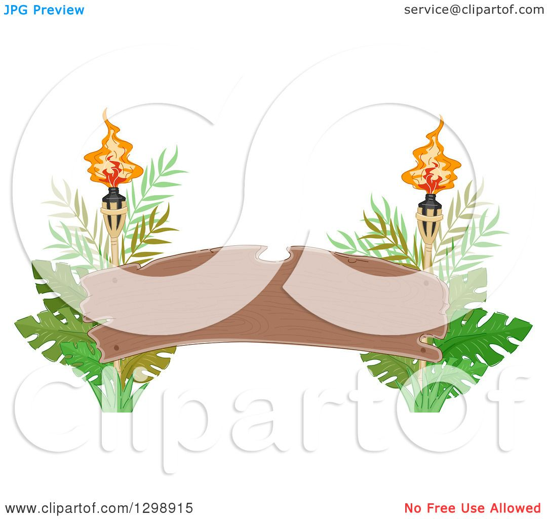 Clipart of a Blank Wood Arch Banner with Tiki Torches and ...