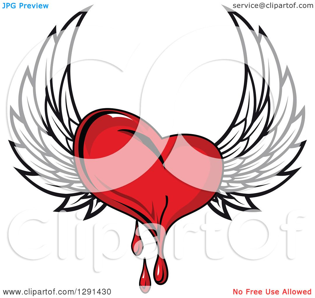 Clipart of a Bleeding Red Winged Heart - Royalty Free Vector ...