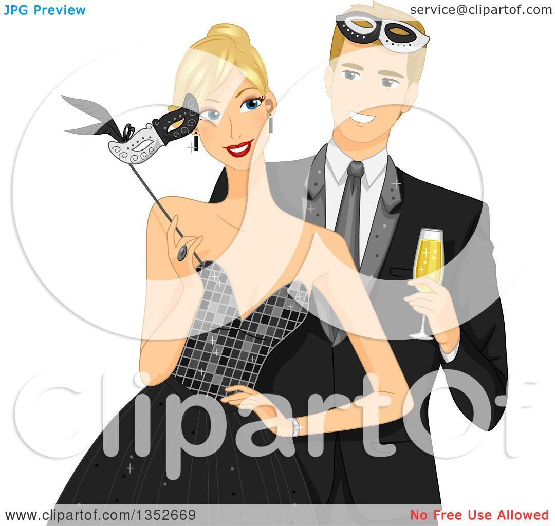 Clipart Of A Blond Caucasial Couple At Formal Masquerade Ball