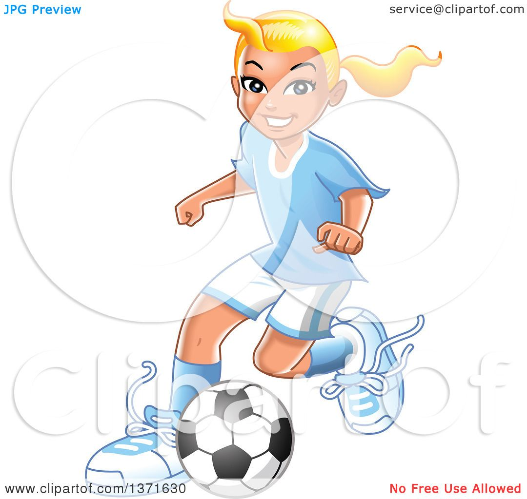 clipart of a blond caucasian girl playing soccer royalty free vector illustration by clip art mascots