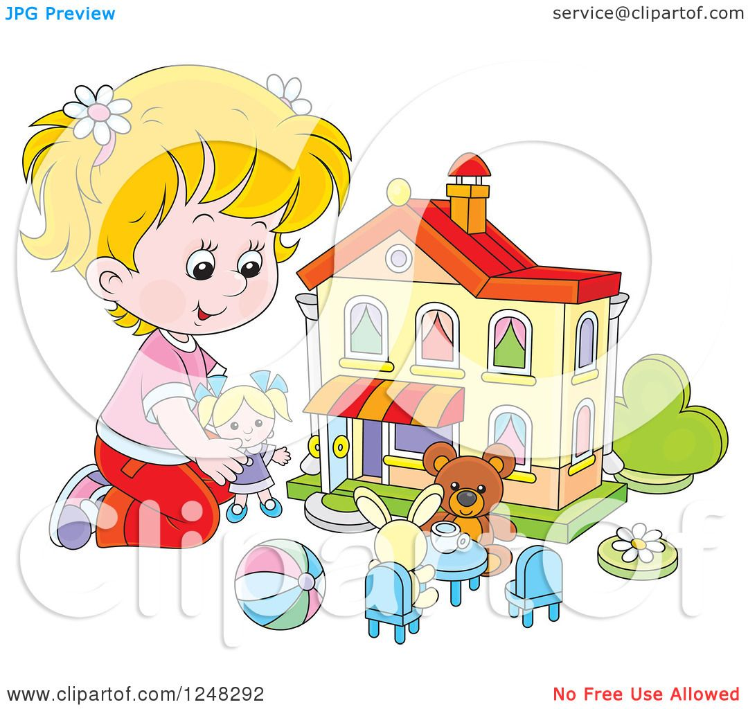 Girl Toys Clip Art : Clipart of a blond girl playing with toys at doll house