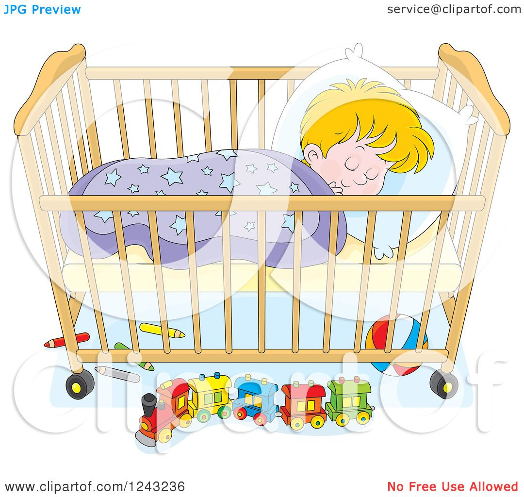 Clipart of a Blond Toddler Boy Sleeping in a Crib ...