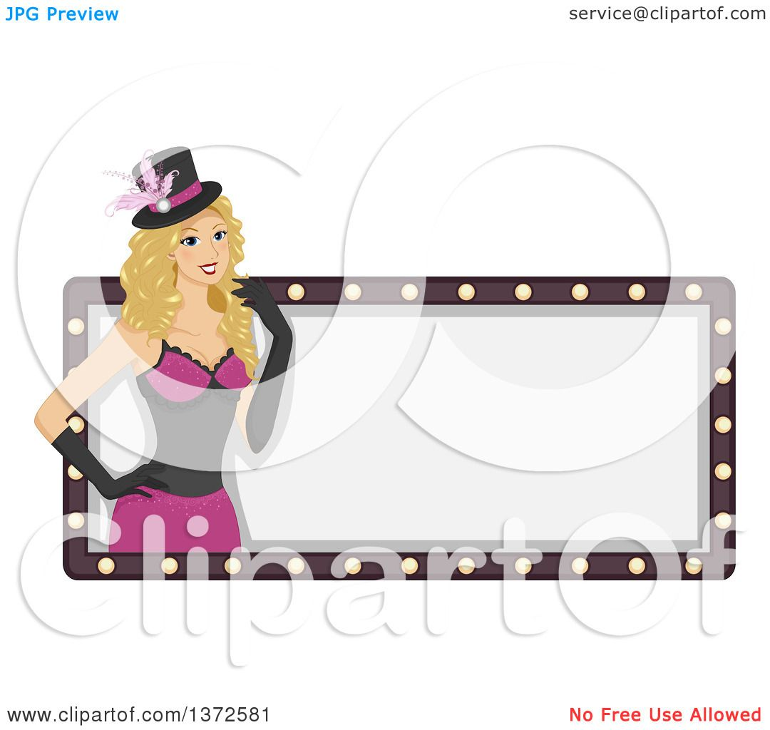 Clipart of a Blond White Burlesque Woman over a Blank Sign ...