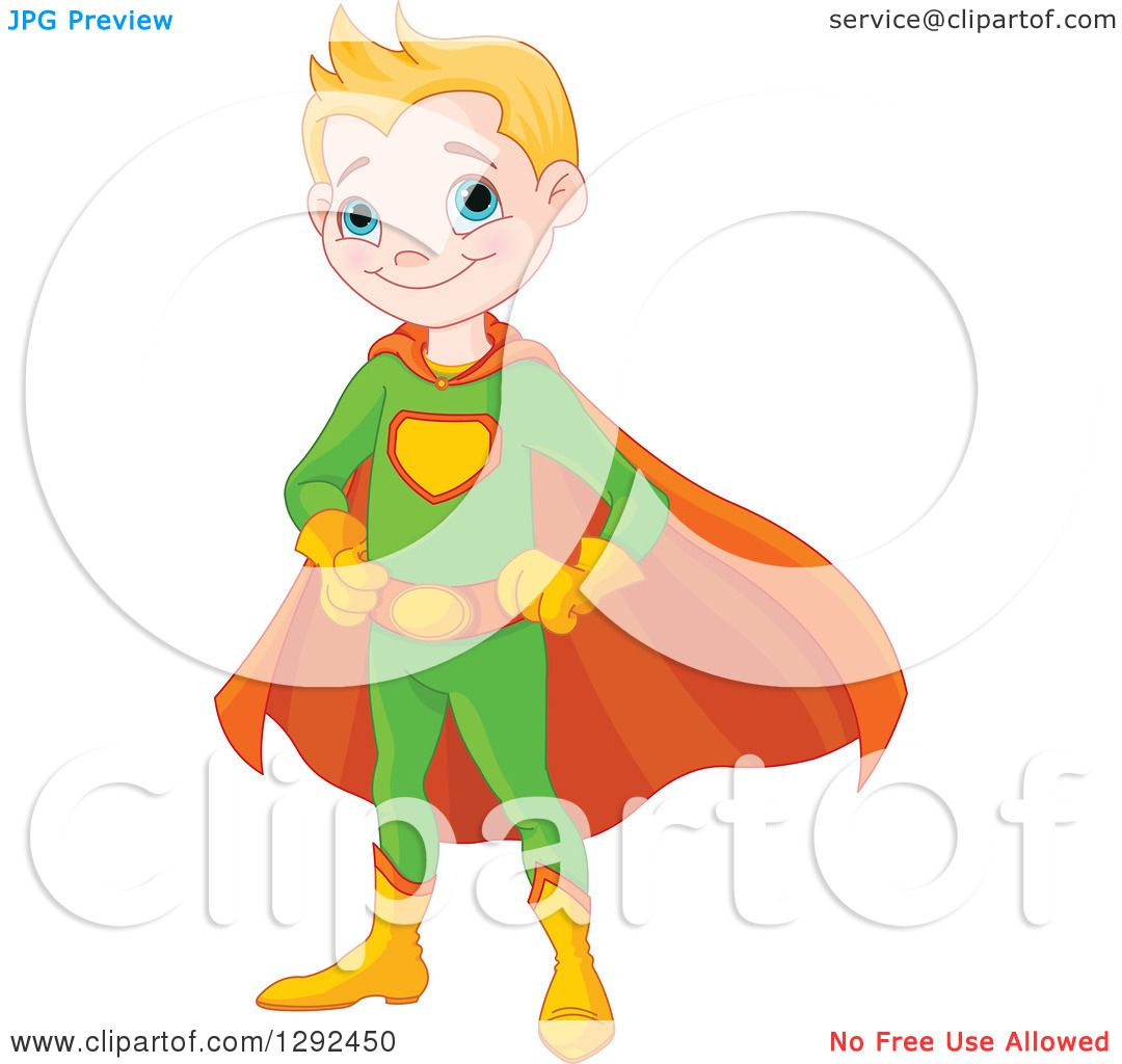 Clipart Of A Blond White Happy Super Hero Boy In A Green