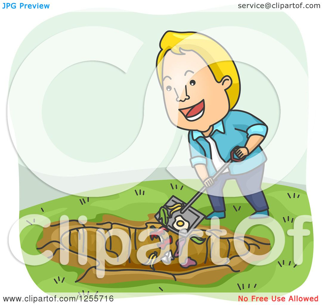 Clipart Of A Blond White Man Shoveling Scraps Into A