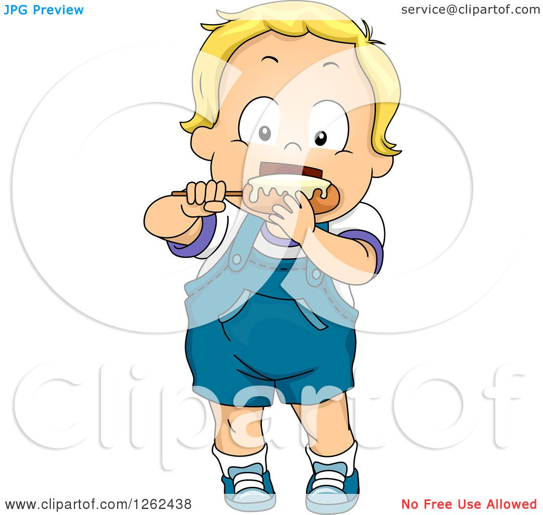 Clipart of a Blond White Toddler