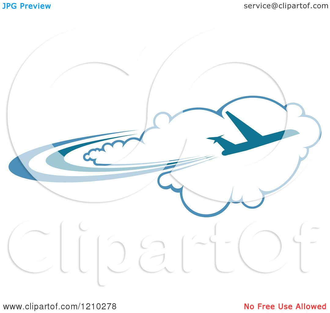 Clipart of a Blue Airplane Flying over Clouds 2 - Royalty Free ...