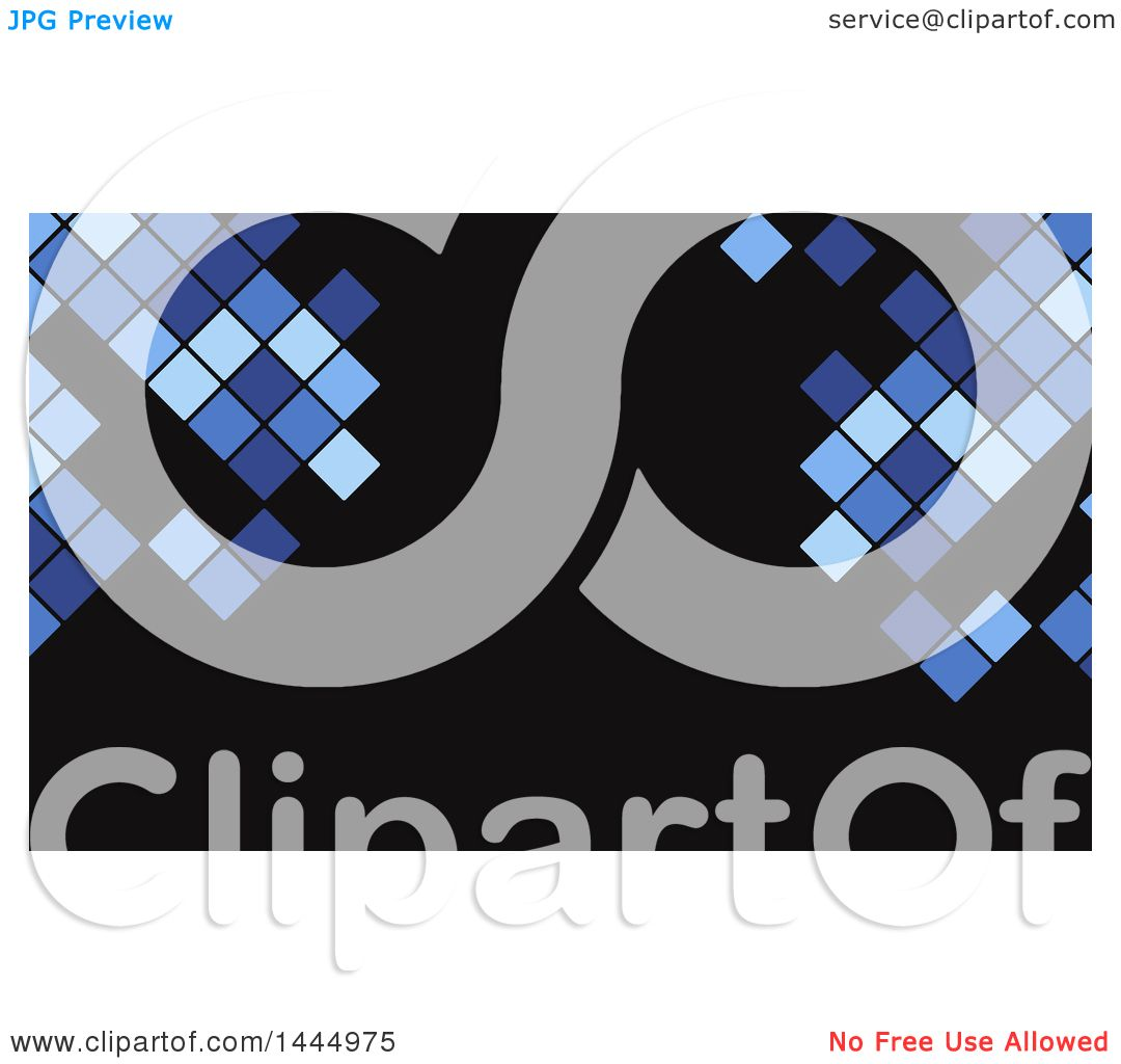 Clipart of a Blue and Black Pixels or Tile Background or Business ...