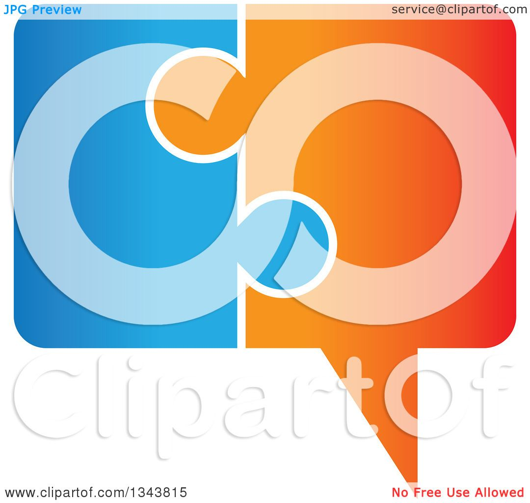 App Icon Design: Clipart Of A Blue And Orange Jigsaw Puzzle Speech Balloon