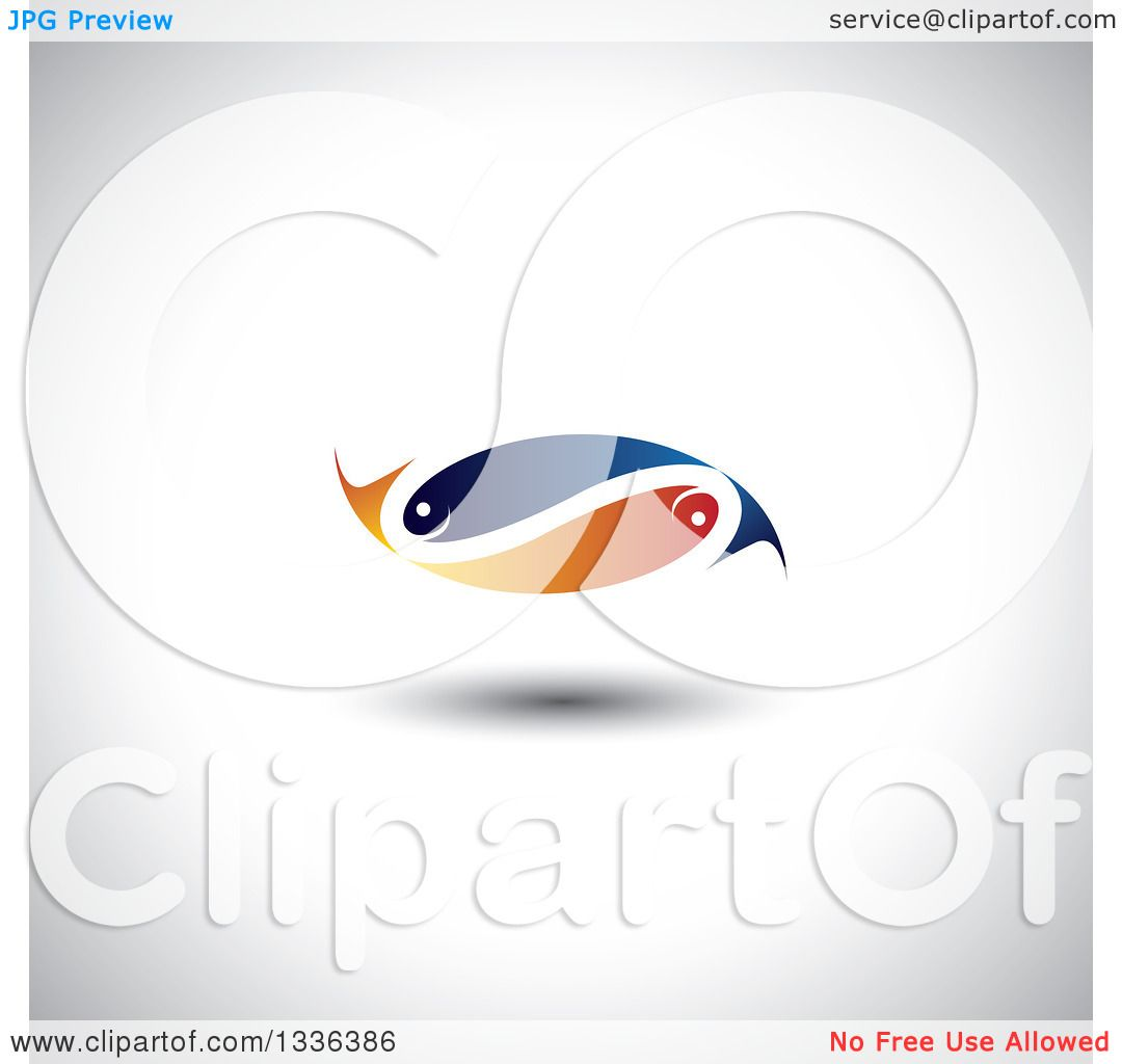 Clipart Of A Blue And Orange Pair Of Faith Or Pisces Fish In The