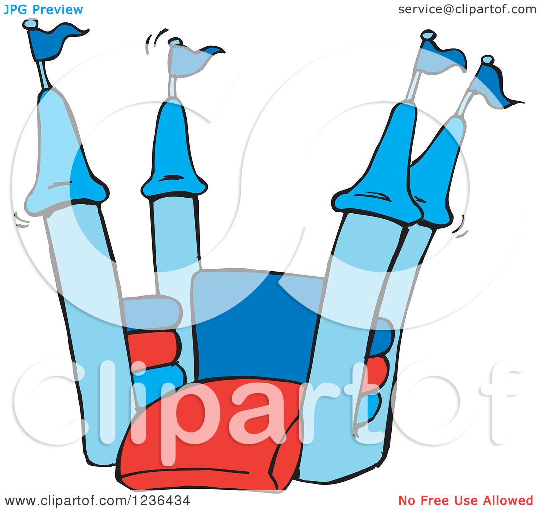 Clipart Of A Blue And Red Jumping Castle Bouncy House