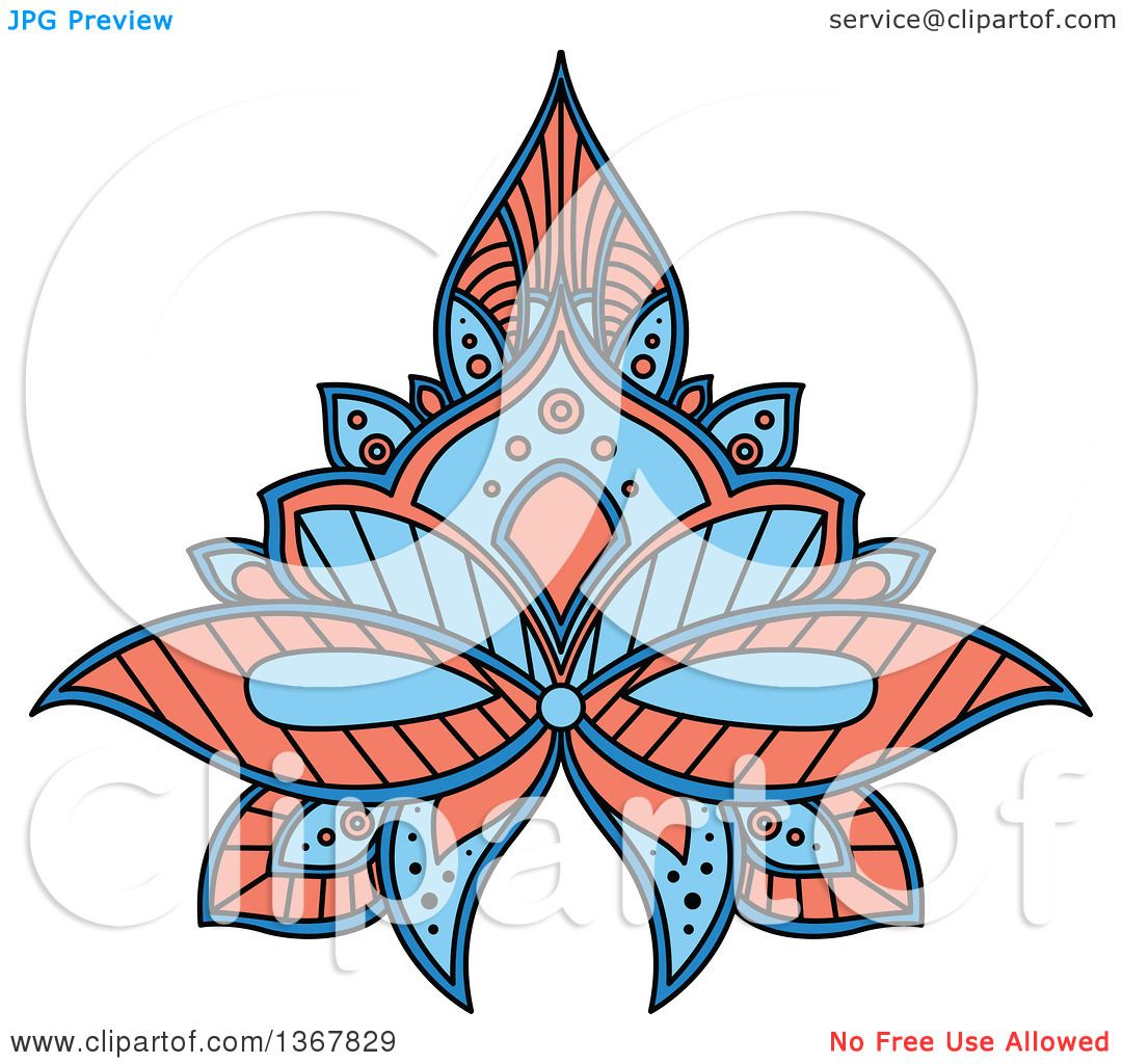 clipart of a blue and salmon pink henna lotus flower royalty free rh clipartof com Henna Tattoo Henna Background