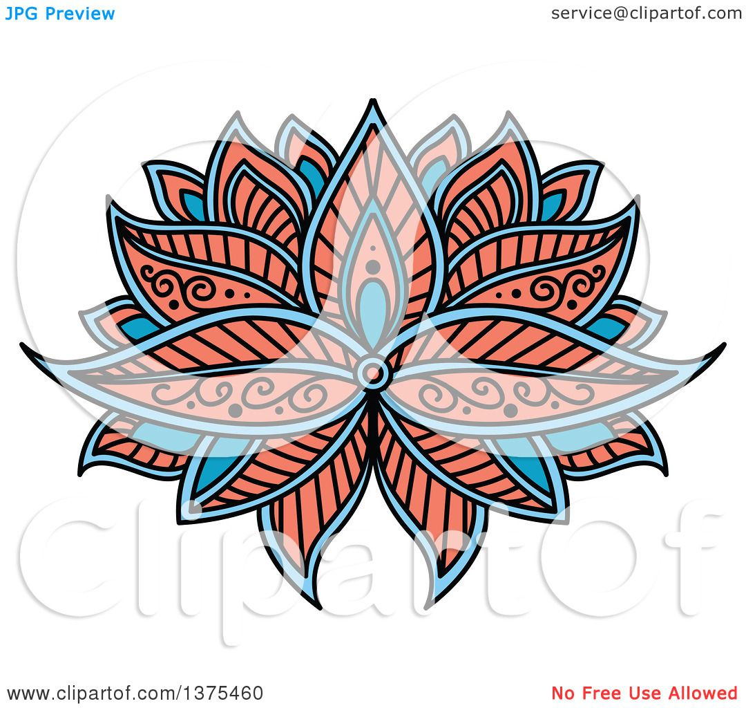 clipart of a blue and salmon pink henna lotus flower royalty free rh clipartof com Henna Tattoo Henna Flowers