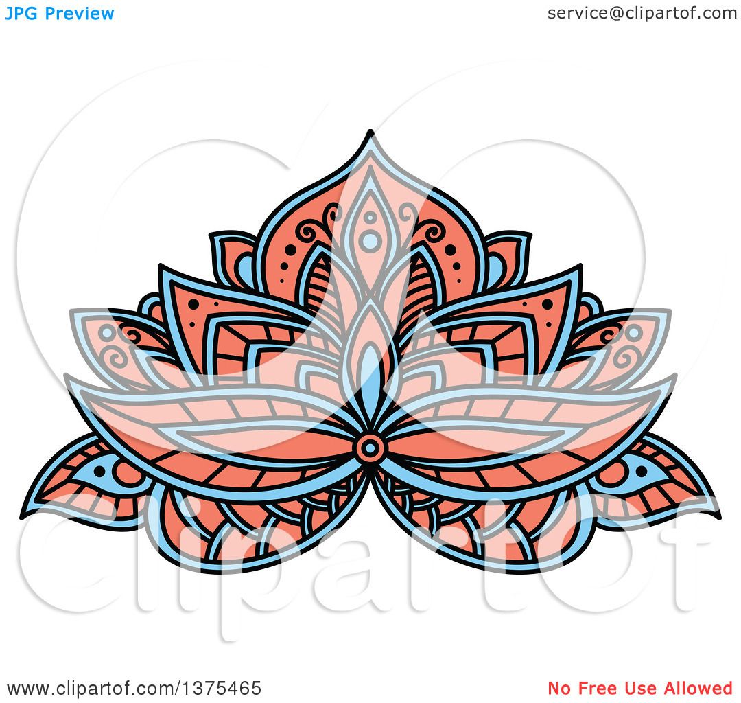 clipart of a blue and salmon pink henna lotus flower royalty free rh clipartof com Henna Wallpaper Adult Coloring Vector