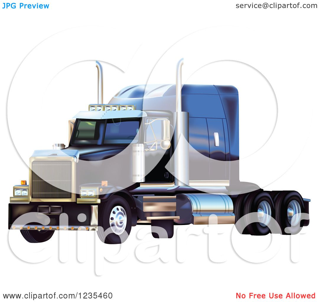 Clipart of a Blue Big Rig Western Star Truck - Royalty Free Vector ...