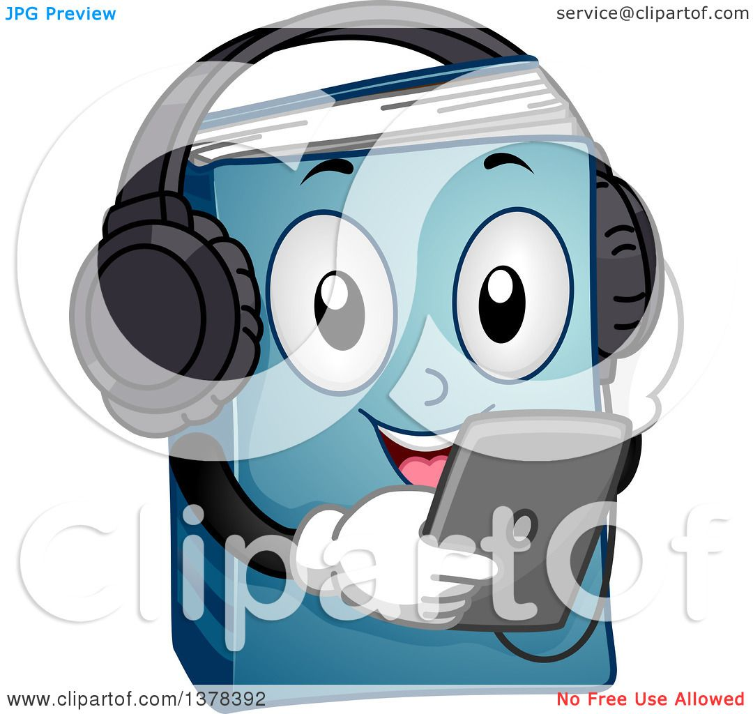 Clipart of a Blue Book Character Listening to an Audio Book from a ...